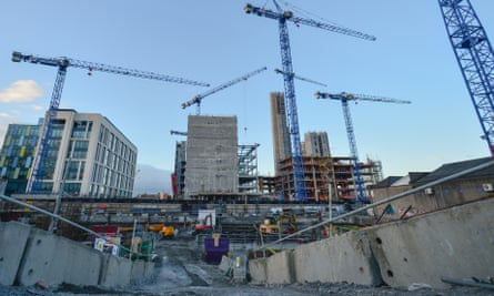 Construction work in the Grand Canal Dock area of Dublin.