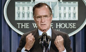 George HW Bush during a news conference at the White House in 1989.