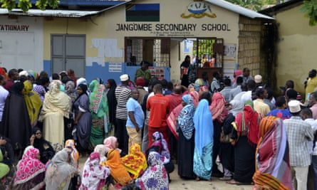 Queues to vote in Zanzibar, Tanzania, on Wednesday