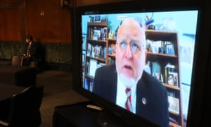 Robert Redfield, the CDC director, addresses a US Senate hearing on Covid-19 by video link from his home, where he is self-isolating.