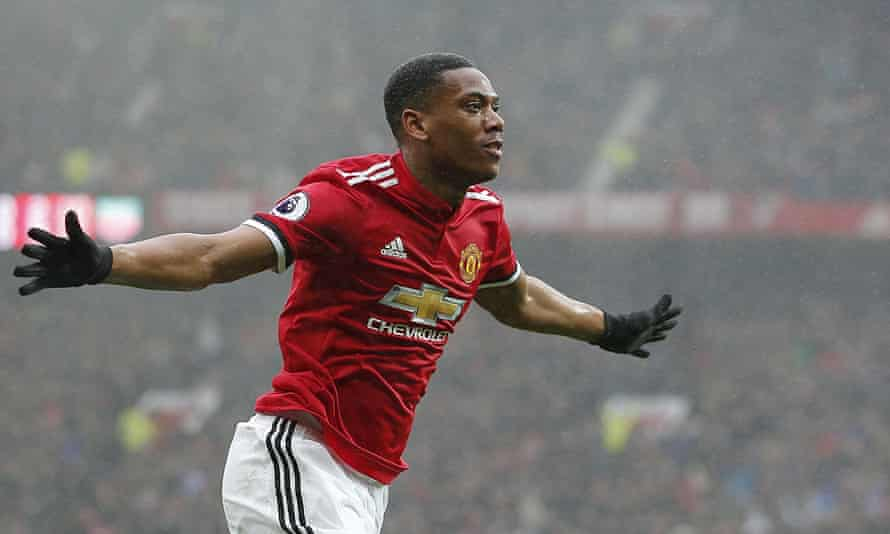 Manchester United's Anthony Martial after scoring against Tottenham
