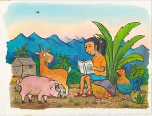 Colourful illustration of girl reading to pig, goat, hen and cockerel in mountains