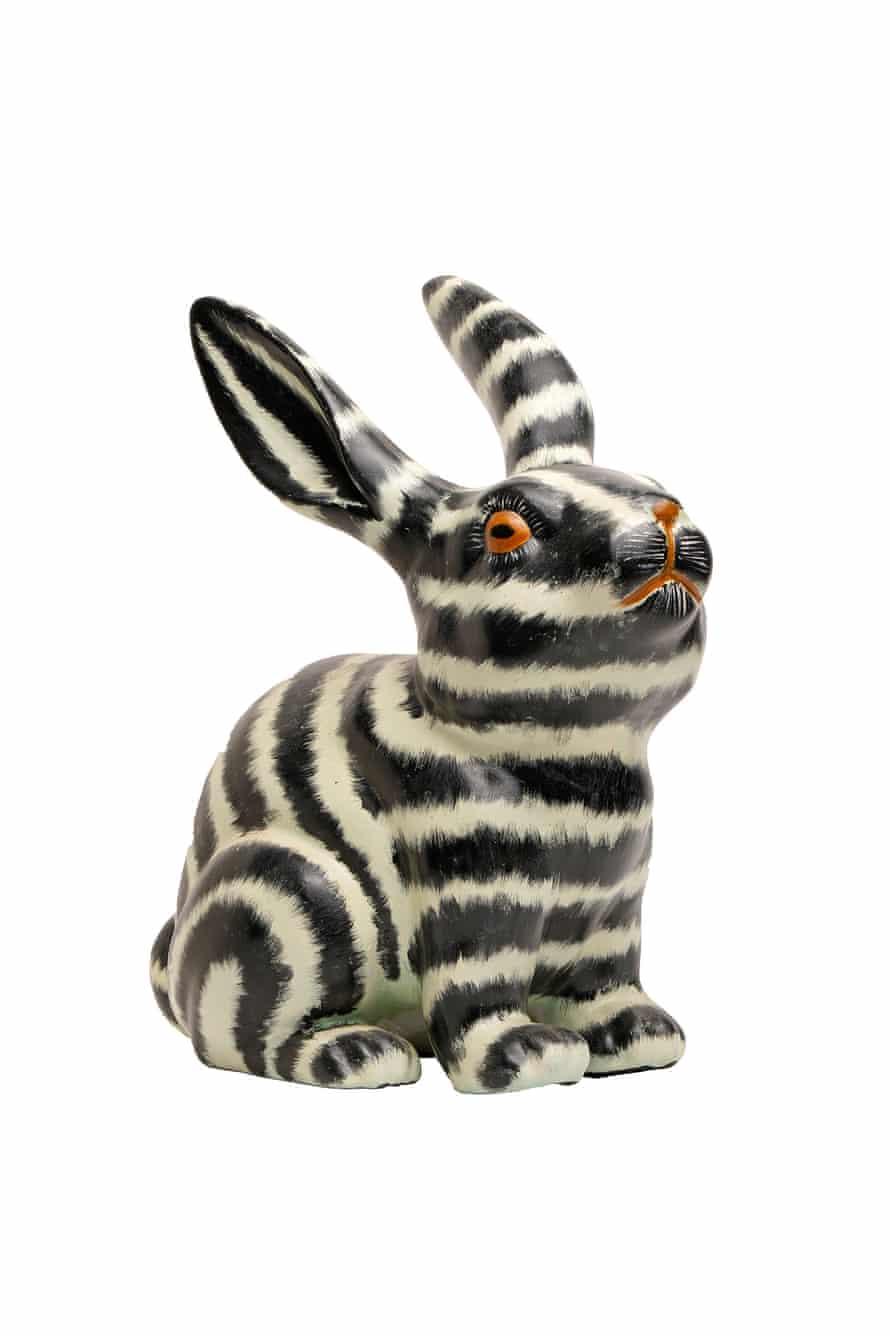 black and white striped bunny ornament