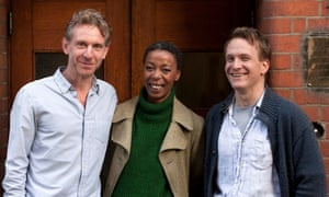Dumezweni with Jamie Parker, right, who will play Harry, and Paul Thornley, left, who will play Ron in Harry Potter and the Cursed Child this summer.