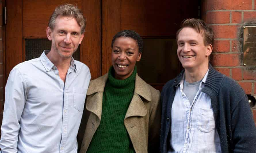 Noma Dumezweni, centre, with her Harry Potter co-stars Jamie Parker and Paul Thornley.