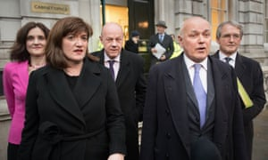 Left to right: Theresa Villiers, Nicky Morgan, Damian Green, Iain Duncan Smith and Owen Paterson, Tory MPs who attended a meeting in the Cabinet Office as members of the alternative arrangements working group