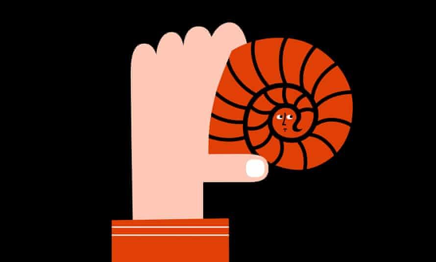 Illustration of hand holding spiral