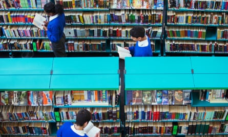 students browse in a library