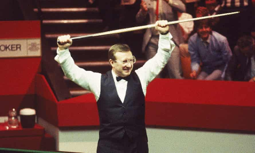 """Dennis Taylor celebrates his famous """"black ball final"""" victory over Steve Davis at the 1985 world championship."""