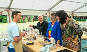 Bake Off 2020's Dave, with Noel, Prue and Paul.