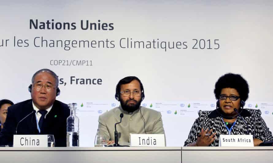 China, India and Brazil's delegates at COP21 in Le Bourget, Paris.