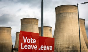 A Vote Leave sign urging people to vote for Brexit in the EU referendum in June 2016.