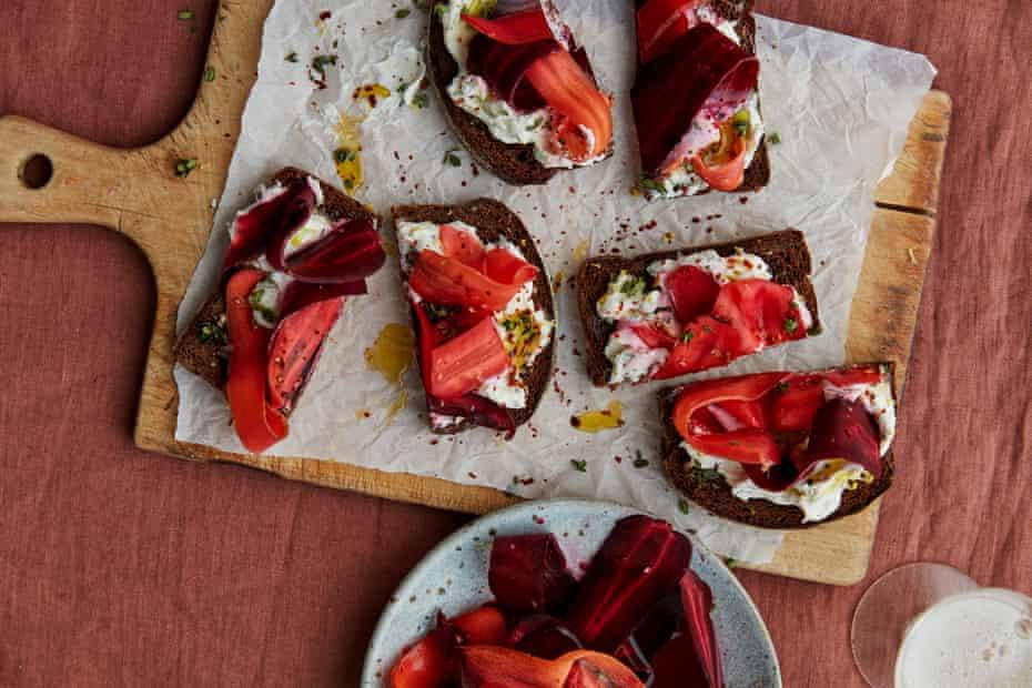 Anna Jones' rye, smoky carrot and whipped cream cheese toasts