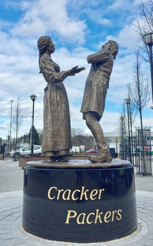 The statue honouring the 'cracker packers' who worked at the Carr's biscuit factory in Carlisle