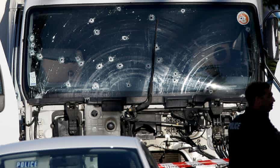 Bullet holes in the truck that was driven through Bastille Day celebrations in Nice.