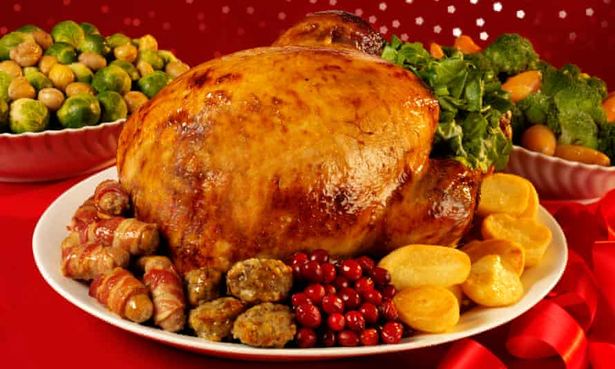 Christmas turkey dinner with pigs in blankets