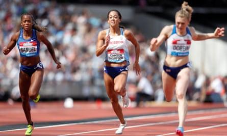 Katarina Johnson-Thompson during the heptathlon 200m at last year's Diamond League Anniversary Games at the London Stadium