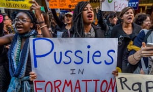 Women in New York protest Donald Trump's victory.