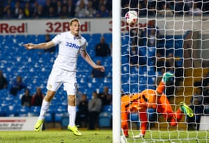 Chris Wood scores the first goal for Leeds.