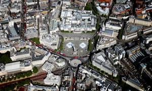 Aerial view of Trafalgar Square and Central London