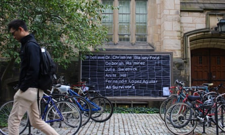 Across Yale's campus, bulletin boards are plastered with messages of support for Dr Christine Blasey Ford and other women who have accused Kavanaugh and other men of sexual misconduct.