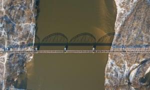 Bridge over the Vistula river, near Gora Kalwaria, Poland.