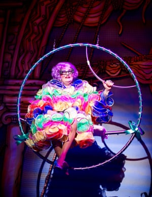 Barry Humphries as Dame Edna Everage in Dick Whittington at the New Wimbledon Theatre, London, 2011.
