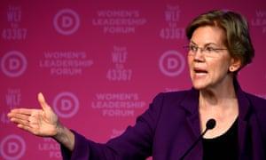 "US-VOTE-2020-DEMOCRATS-WOMEN-WARREN<br>Democratic Presidential hopeful Massachusetts Senator Elizabeth Warren gestures as she speaks at a fundraiser at the ""Women's Leadership Forum"" in Washington, DC on October 17, 2019. (Photo by Andrew CABALLERO-REYNOLDS / AFP) (Photo by ANDREW CABALLERO-REYNOLDS/AFP via Getty Images)"