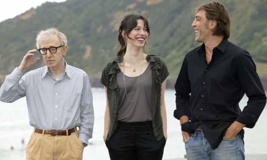 Woody Allen, Rebecca Hall and Javier Bardem at the San Sebastian Film Festival in 2008.