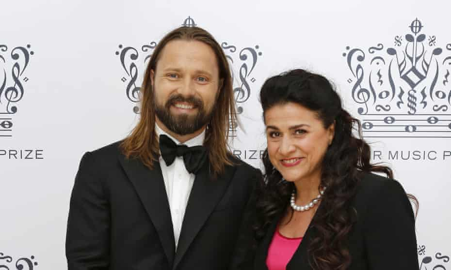Winners Max Martin and Cecilia Bartoli, right, pose after arriving at the 2016 Polar Music Prize award ceremony.