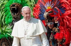 Vatican CityPope Francis with a group of Mexicans from Quintana Roo State in indigenous traditional clothing during the weekly general audience