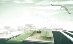 A rendering of the proposed Algaescape project, which encompasses an algae-growing garden.
