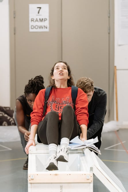 Sharon Duncan-Brewster, Norah Lopez Holden and Mike Noble in rehearsals for The Almighty Sometimes.