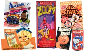 Barratts' A-Team bubble gum, Lyons Maid Zoom ice lolly, Golden Wonder All Stars snacks, Barr's Snoopy Cola, Krema's Space Dust and Lyon's Bobys chocolate cigarettes.