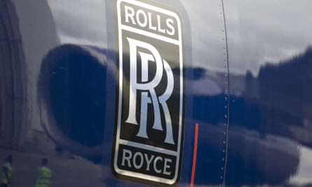 The Rolls-Royce badge on the side of an aircraft engine