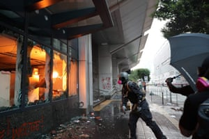 Protesters trash a local government office during a demonstration in the Sham Shui Po area of Hong Kong.