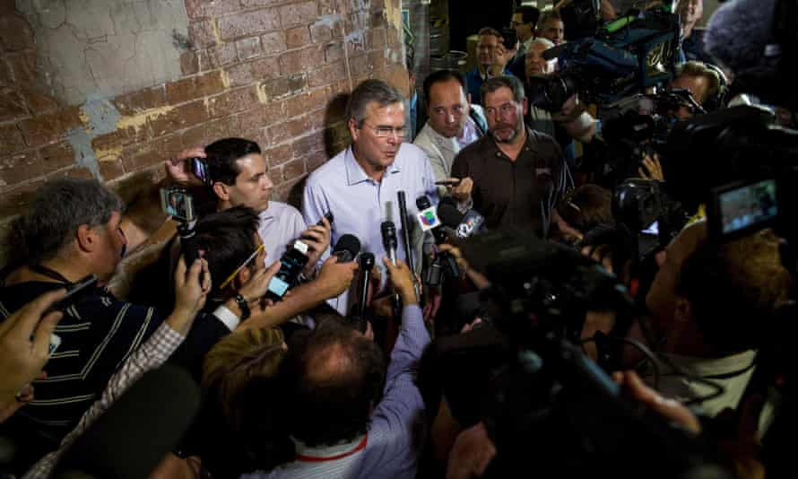 Jeb Bush speaks to the media at a town hall meeting in Tempe, Arizona.