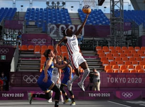 Mamignan Toure of Team France drives to the basket in their 3x3 Basketball competition match against Romania