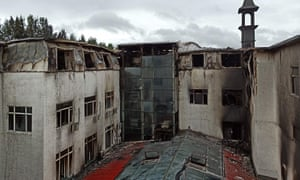 It took 105 firefighters more than three hours to extinguish the blaze at Beilong Hot Spring hotel.