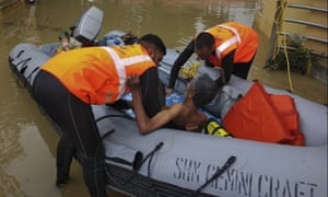 The Indian navy is still rescuing those trapped by the floods.