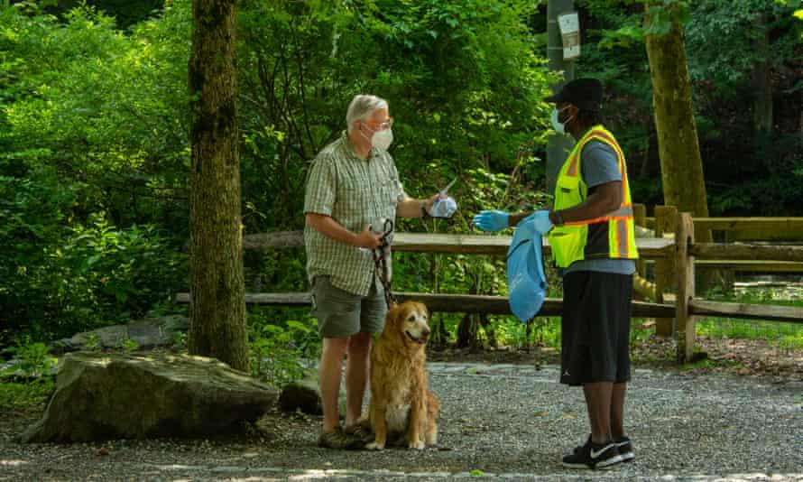Social distance ambassadors at Wissahickon Valley park.
