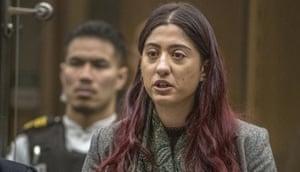 Sara Qasem gives her victim impact statement in Christchurch.
