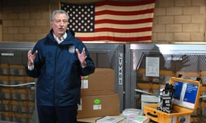 Mayor Bill de Blasio visits the New York City Emergency Management Warehouse, where 400 ventilators have arrived and will be distributed.