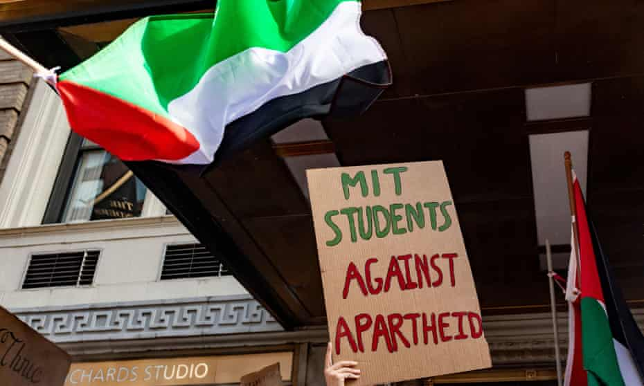 Students of the Massachusetts Institute of Technology take part in a rally in solidarity with the Palestinian people in Boston last week.