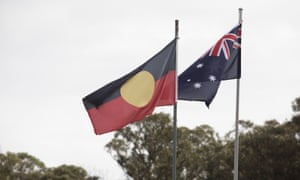 The Australian and Aboriginal flags flying in Bargo