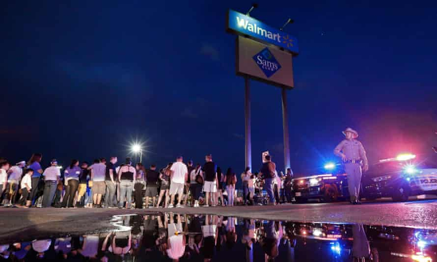 The site of a mass shooting at a Walmart in El Paso, Texas.