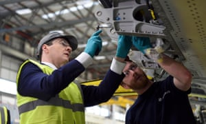 Chancellor George Osborne at the Airbus factory in Filton, Bristol