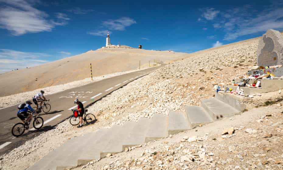 The Tom Simpson memorial near the summit of Mt Ventoux, France.