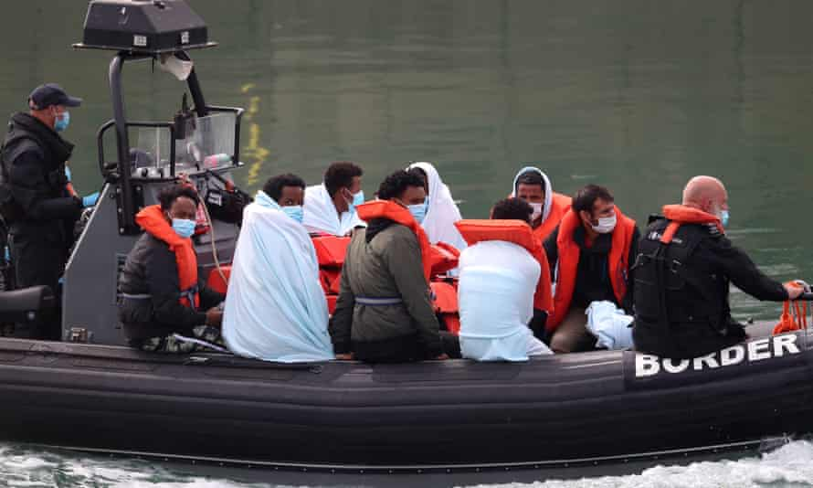 Migrants on Border Force boat