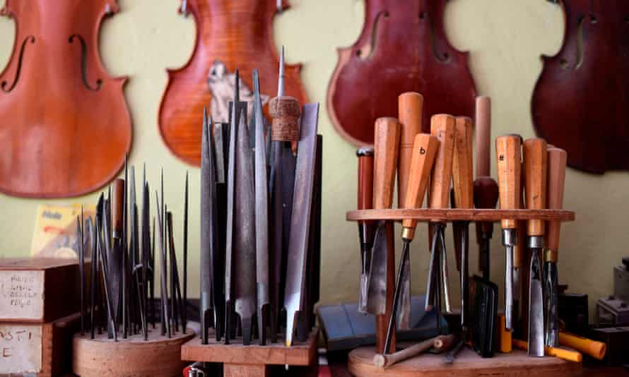 A luthier's workshop ... top plates and tools for making violins in Cremona.